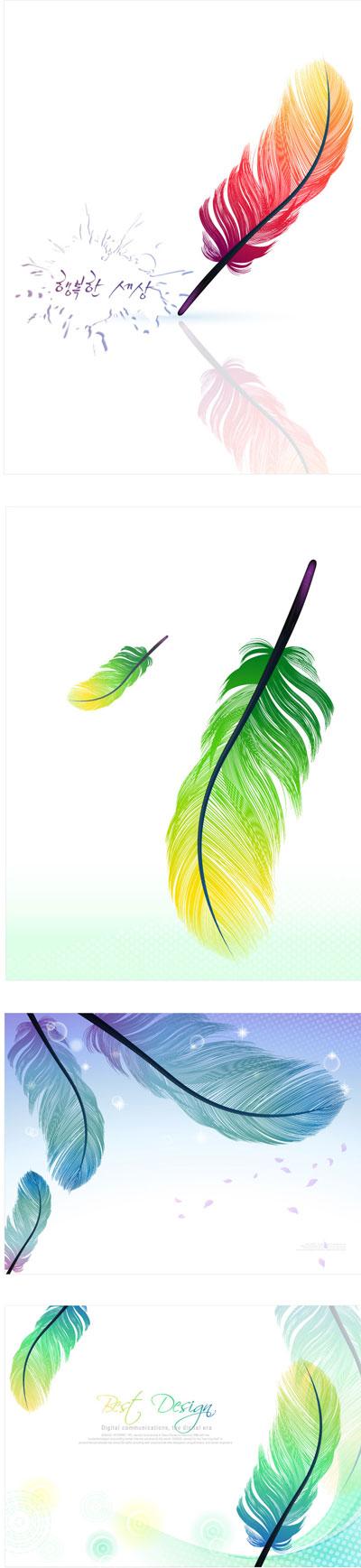 цветные перья вектор