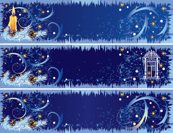 Hermosas decoraciones de Navidad banner de material de vectores