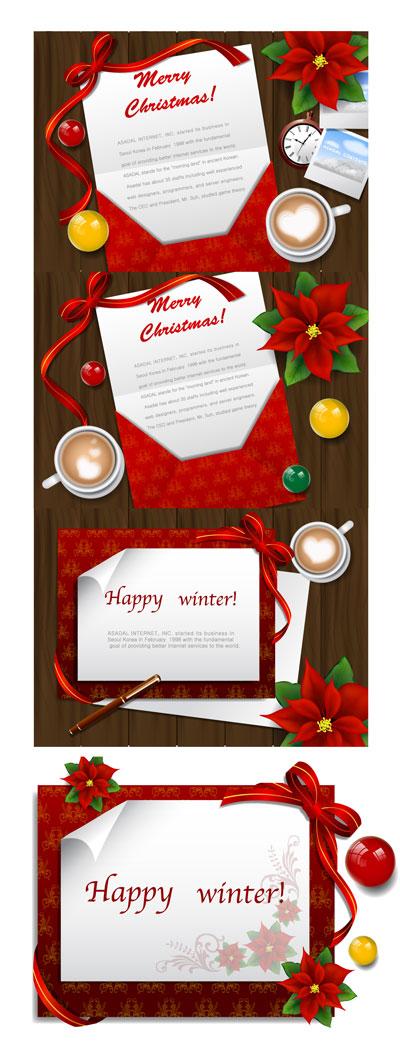 クリスマスのグリーティング カード デスクトップのベクター素材