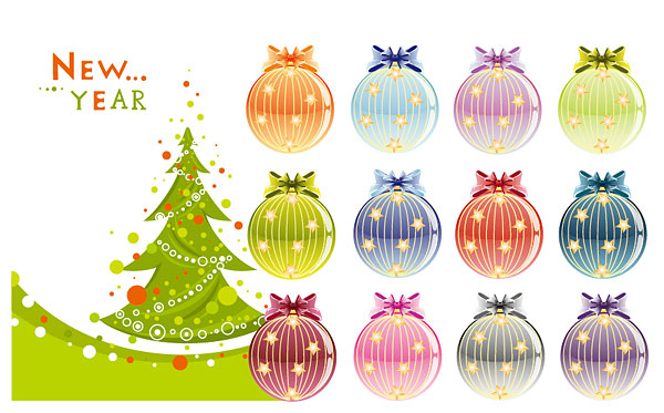 Arbres de Noël et vecteur de boules de décoration