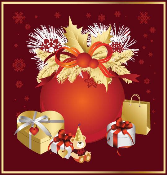 Noël, rubans, arcs, vecteur de cadeau
