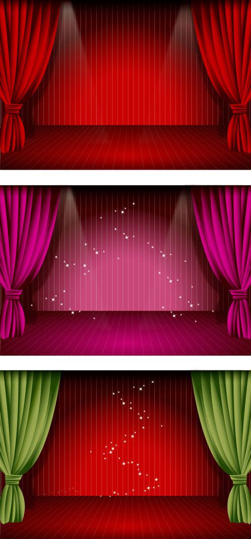 vetor de cortina do palco