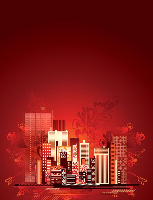 Material de vectores de la moderna ciudad