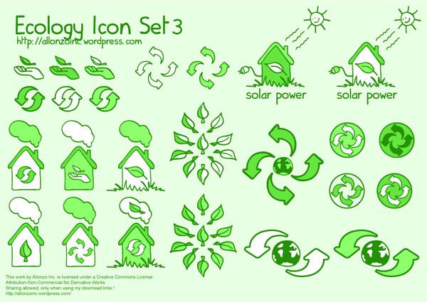 Icônes de vecteur vert