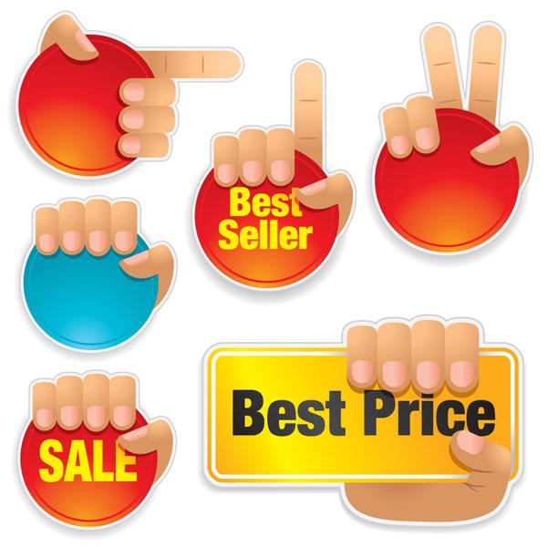 Icône de vente de gestes matériel vecteur