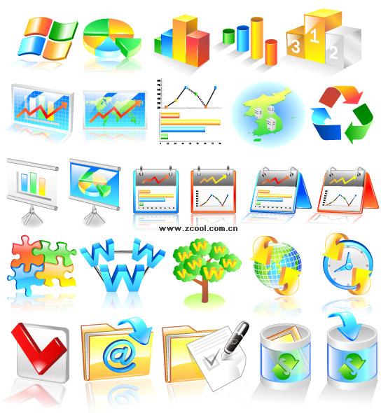 Financiero estadísticas categorías icono material de vectores