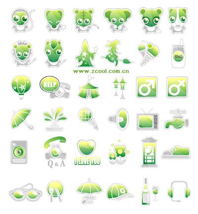 Verde lindo icono material de vectores