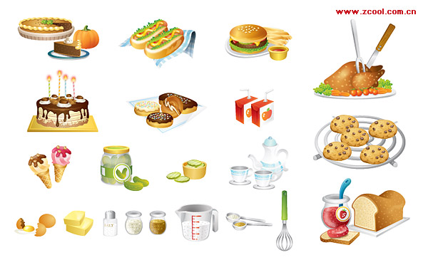 Kitchen utensils, such as fine food icon vector material