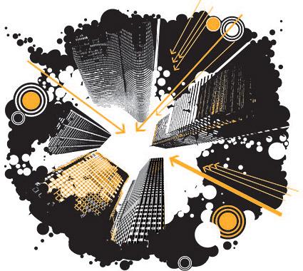 แนวโน้มของภาพประกอบแบบเวกเตอร์วัสดุอาคารสูงระฟ้าเมือง