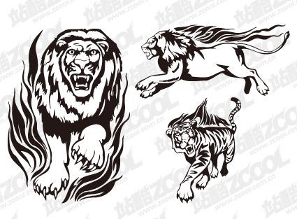 León Tigre llama material de vector totem