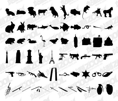 álbum de 1000 varios silueta vector material-10