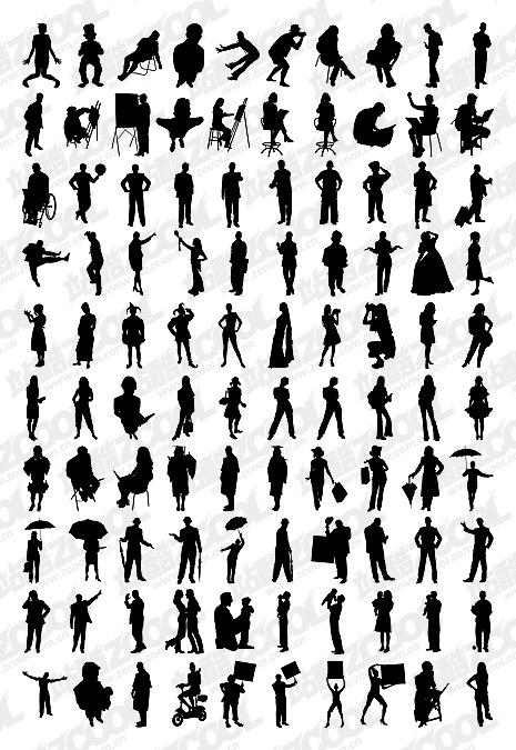 1000 อัลบั้มต่าง ๆ silhouette vector วัสดุ-5