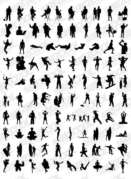1000 อัลบั้มต่าง ๆ silhouette vector วัสดุ-2