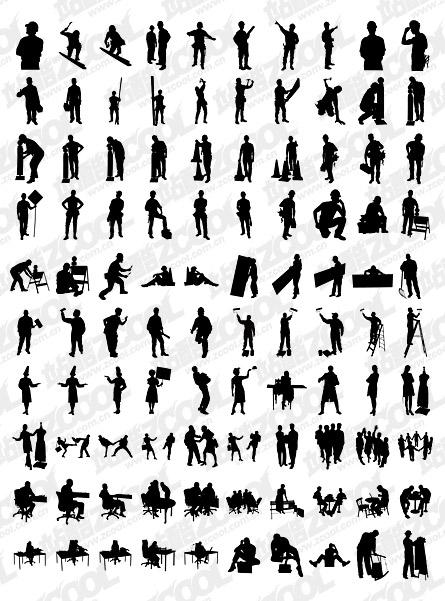 альбом 1000 различных силуэт векторный материал-1