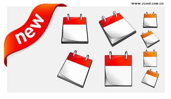 Календарь и новый материал декоративных значок вектор