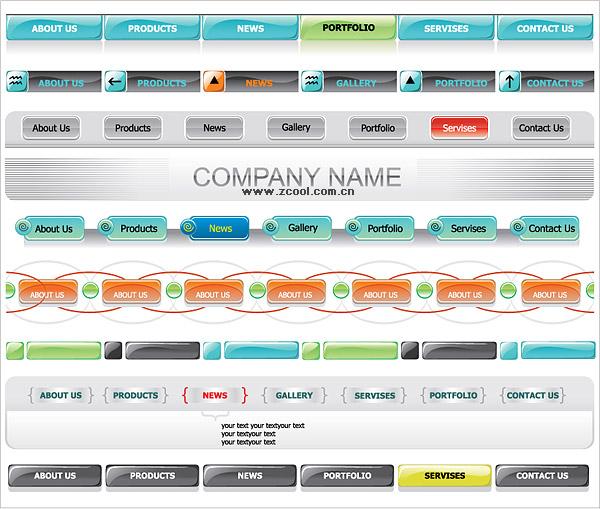Matériau vecteur de site navigation menu