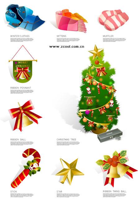 Зимняя одежда и икона Рождества векторный материал