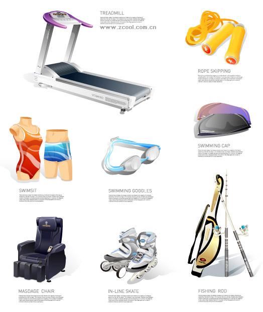 Deportes y ocio equipo icono material de vectores