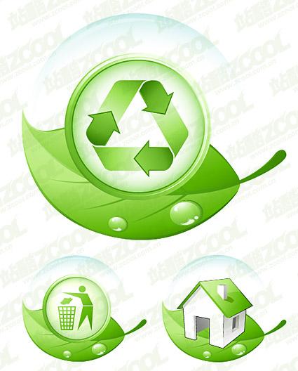 Protección del medio ambiente el tema de la hoja verde icono material de vectores