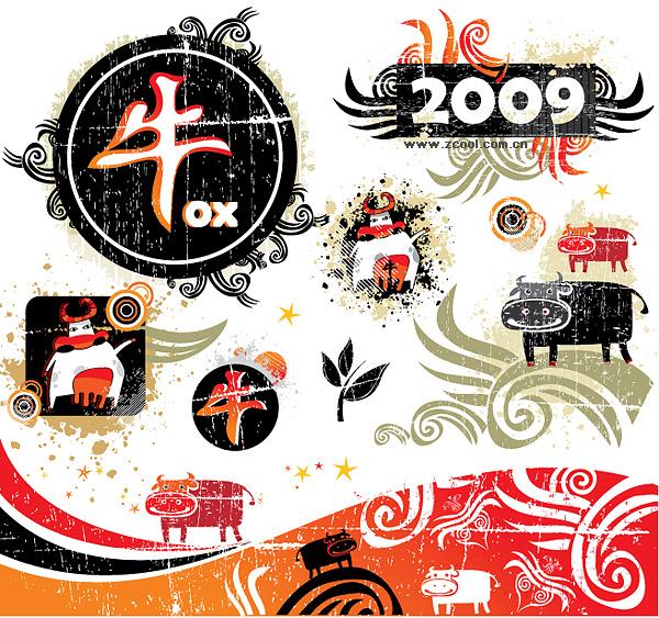Ano de 2009 do elemento de tendência Ox vector material