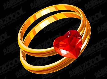Heart-shaped Diamond Ring gold-Vektor-material