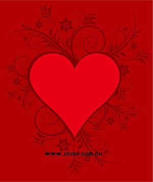 赤いハート型パターン ベクトル材料