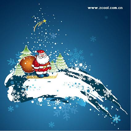 Santa Claus esquí de Vector de material