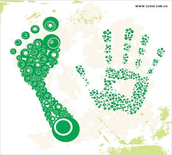 Dots composed of the footprints with the palm of your hand vector material