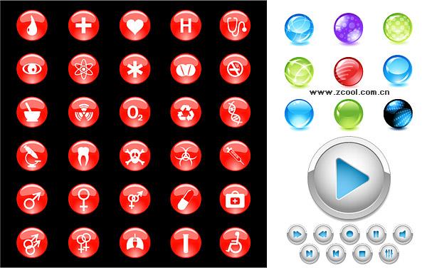crystal circular icon vector material