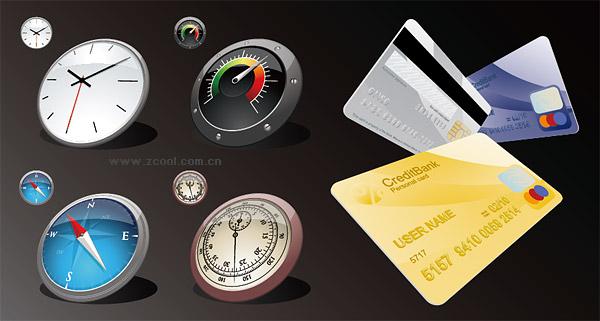 시계 나침반 카드 벡터 소재