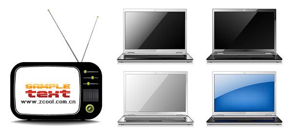 Телевизор с ноутбуком векторного материала