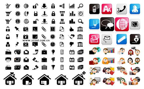 Tres conjuntos de icono material de vectores