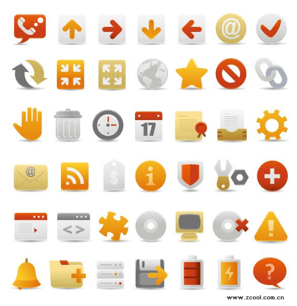 Un conjunto de icono decorativos de diseño web hermosa