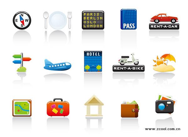 Matériau de sujet pour le vecteur set icône de voyage.