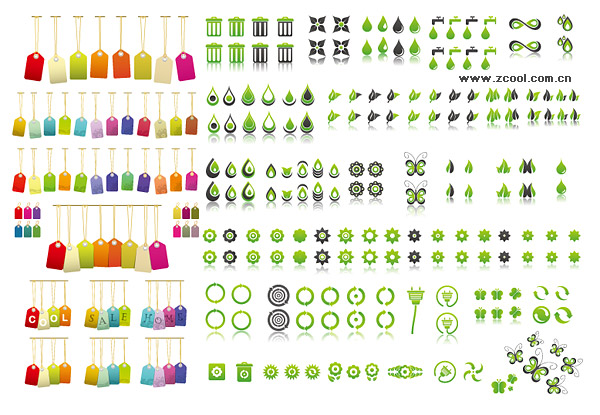 Etiquetas de protección del medio ambiente con el material de gráficos vectoriales