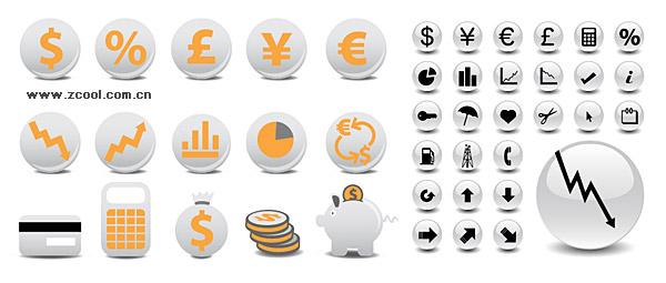 круг финансовых значок векторного материала