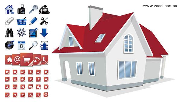 Casa con 2 conjuntos de utilidad icono material de vectores