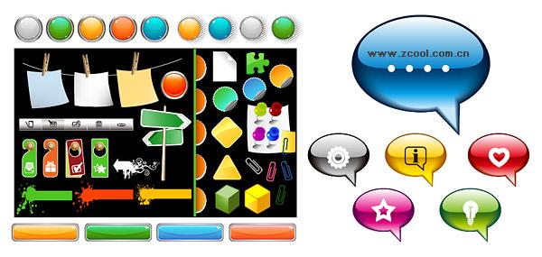 Elemento vector material comúnmente utiliza botones Diseño Web