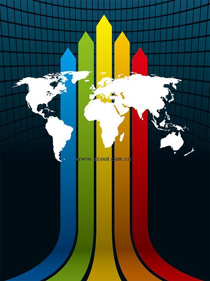 Пробелы Радуга фонового материала линия векторной карты мира