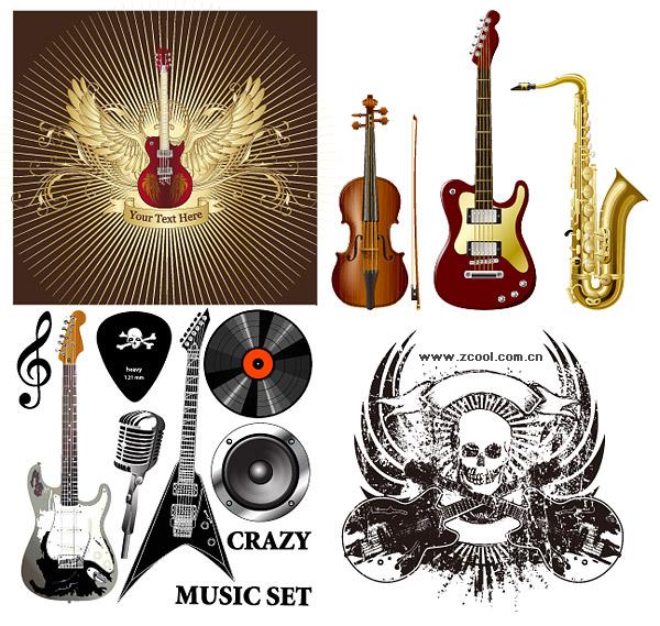 Instrumentos musicales de vectores de material