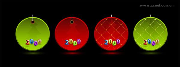クリスマス 2009 年ベクトル タグ素材