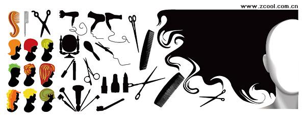 Peluquería serie elemento vector de material