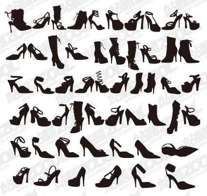 Variedad de zapatos de moda para mujer silueta vector de material