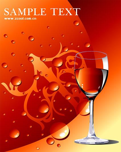 Vidrio rojo vino con agua de material de vectores