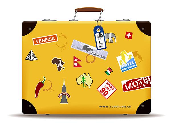 黄色のスーツケースのベクター素材