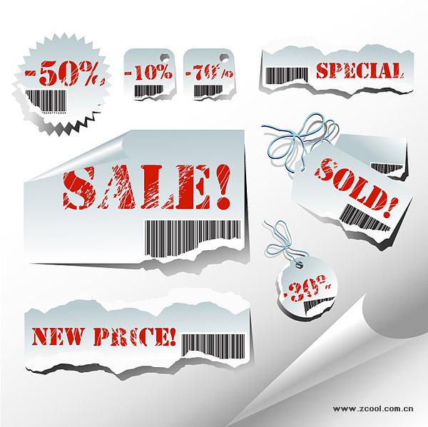 Пострадавших от продаж тег векторного материала