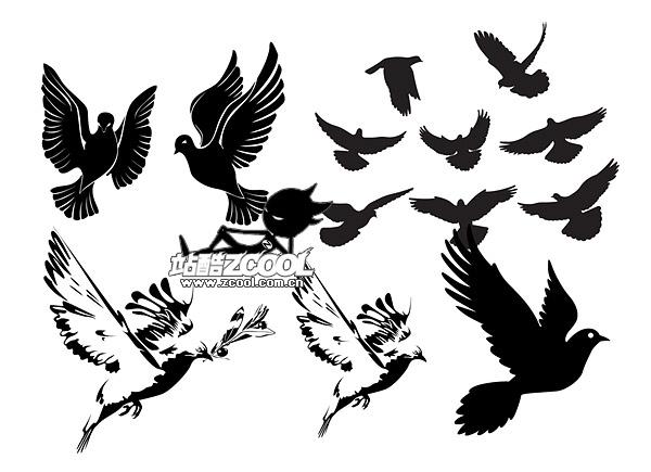 pombas em preto e branco ou material de vetor de silhueta
