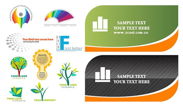 Tarjetas y logotipo plantilla vector material