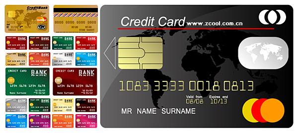 Vários materiais de vetor de modelo de cartão de crédito
