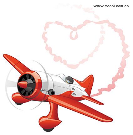 ควันที่รูปหัวใจ emitting เครื่องบินเวกเตอร์วัสดุ
